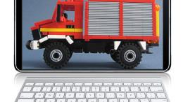 En brandbil på en datorskärm