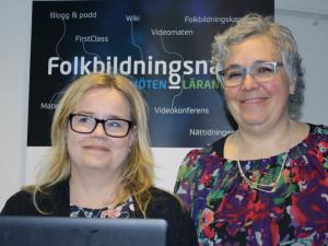 Erika Forssell och Stina Johansson introducerar Wally på Folkbildningshuset.